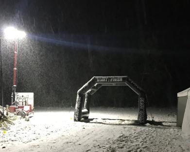 The snowy start line